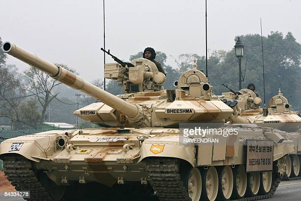 An Indian Army T90 'Bheesma' tanks rolls through Janpath during rehearsals for the Indian Republic Day parade in New Delhi on January 17 2009 India...