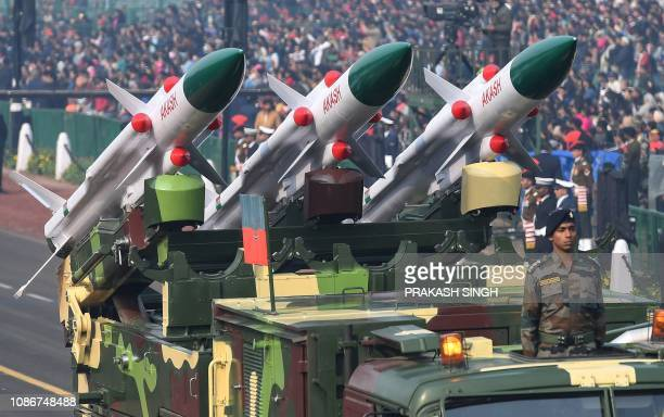 An Indian Army vehicle carrying Akash SurfacetoAir missiles is seen during the full dress rehearsal for the upcoming Republic Day parade in New Delhi...