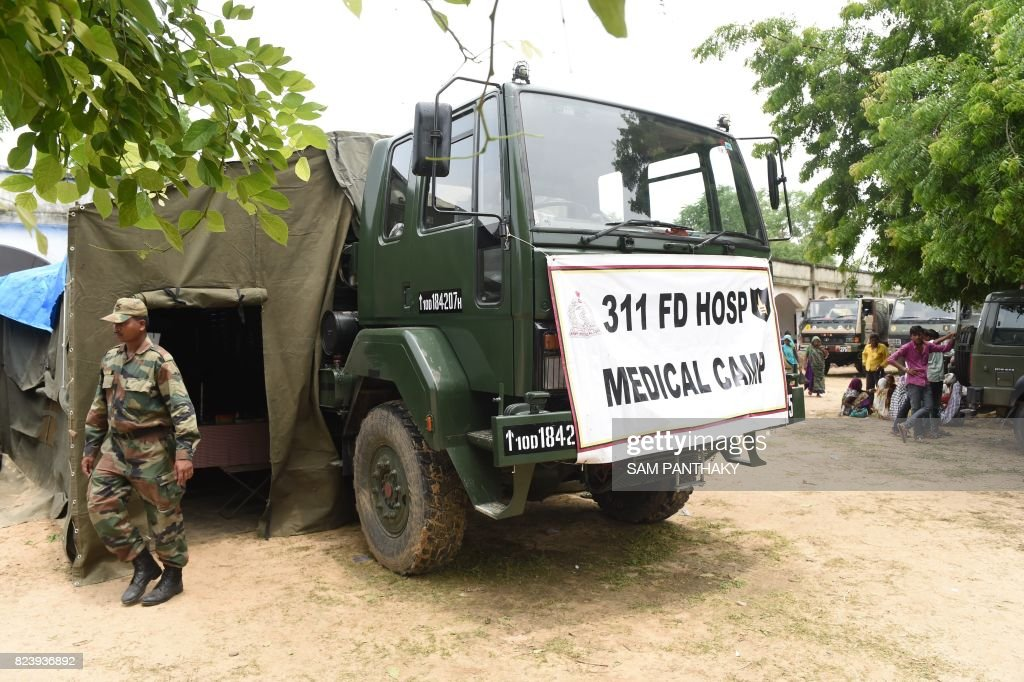 An Indian Army's mobile field hospital is prepared for flood victims