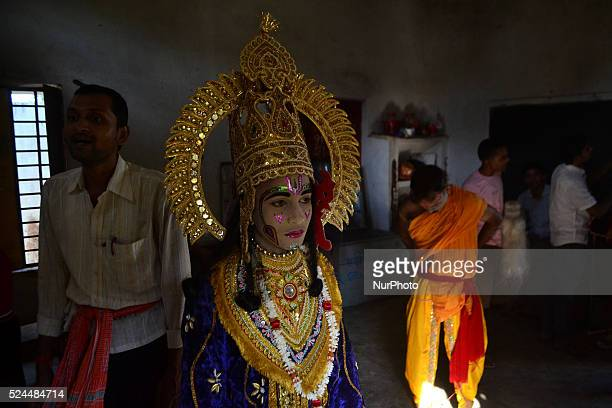 An Indian artistdressed as Hindu God Ramprepares for traditional Ramleelaa play narrating the life of Hindu God Ramahead of Dussehra festivalin...