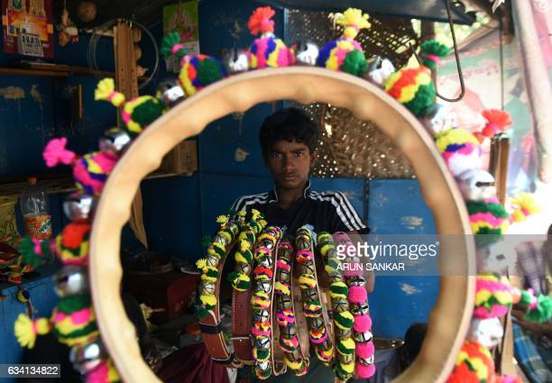 An Indian boy displays decorative necklaces for bulls ahead of the Jallikattu bull taming event in the south Indian city of Madurai on February 7...
