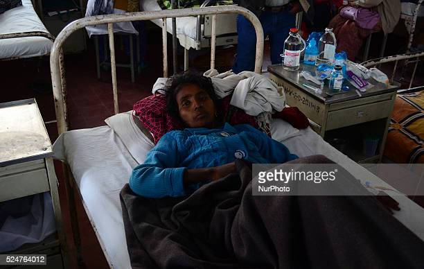 An indian cancer patient woman suffering from ovary cancer admits under treatment in a Cancer Ward of Kamla Nehru Hospitalon World Cancer Day in...