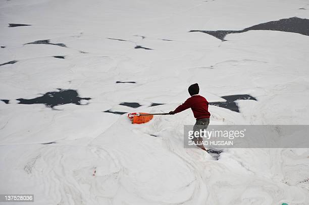 An Indian child searches for coins thrown in the polluted Yamuna river by Hindu devotees for ritual offerings in New Delhi on January 22 2012 River...