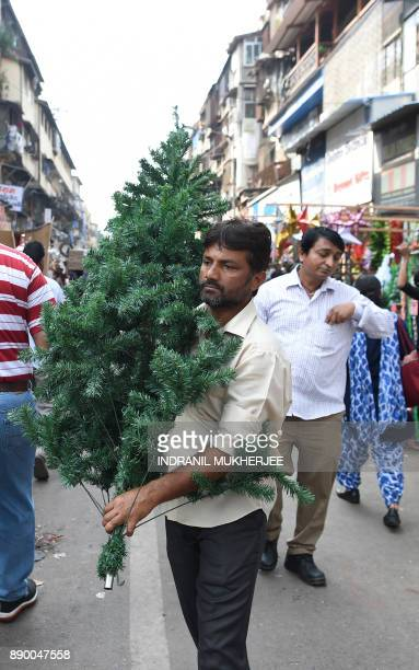 An Indian costumer carries a Christmas tree at an outdoor market in Mumbai on December 11 2017 / AFP PHOTO / INDRANIL MUKHERJEE