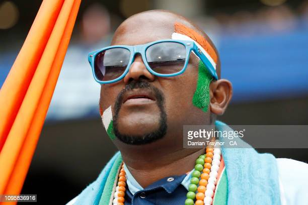 An Indian fan looks on during game three of the One Day International series between Australia and India at Melbourne Cricket Ground on January 18,...