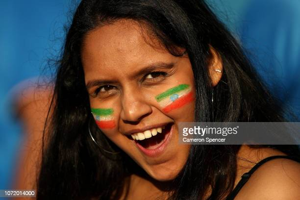 An Indian fan shows her colours during the International Twenty20 match between Australia and India at Sydney Cricket Ground on November 25 2018 in...