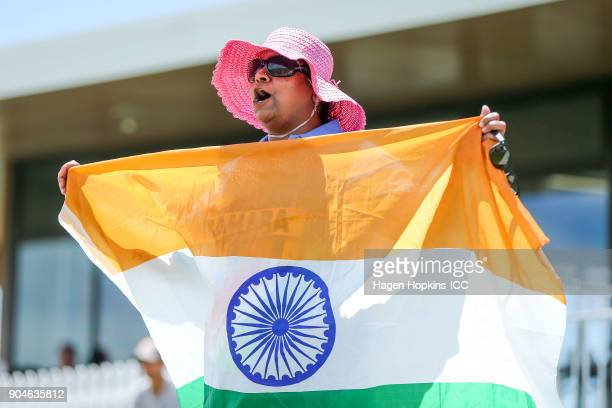 An Indian fan shows her support during the ICC U19 Cricket World Cup match between India and Australia at Bay Oval on January 14 2018 in Tauranga New...