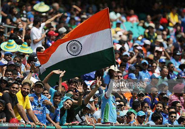 An Indian fan shows his support during game five of the Commonwealth Bank One Day Series match between Australia and India at Sydney Cricket Ground...