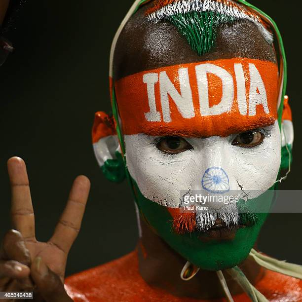 An Indian fan shows his support during the 2015 ICC Cricket World Cup match between India and the West Indies at WACA on March 6 2015 in Perth...