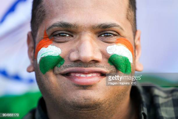 An Indian fan shows his support during the ICC U19 Cricket World Cup match between India and Australia at Bay Oval on January 14 2018 in Tauranga New...