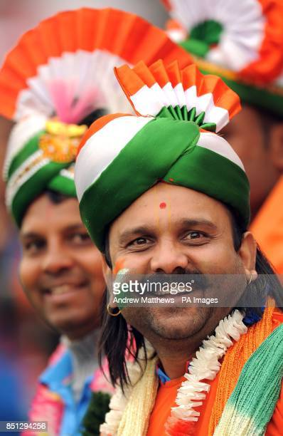 An Indian fan shows his support in the stands at the ICC Champions Trophy Semi Final at the SWALEC Stadium Cardiff
