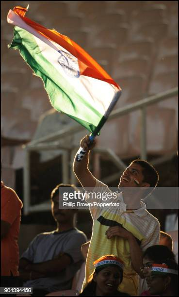 An Indian fan waves a flag during the 1st Test match between India and England at MA Chidambaram Stadium Chennai India 12th December 2008 India won...