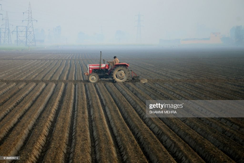 TOPSHOT An Indian farm worker ploughs a field on the outskirts in Jalandhar on February 16 2018 / AFP PHOTO / Shammi MEHRA