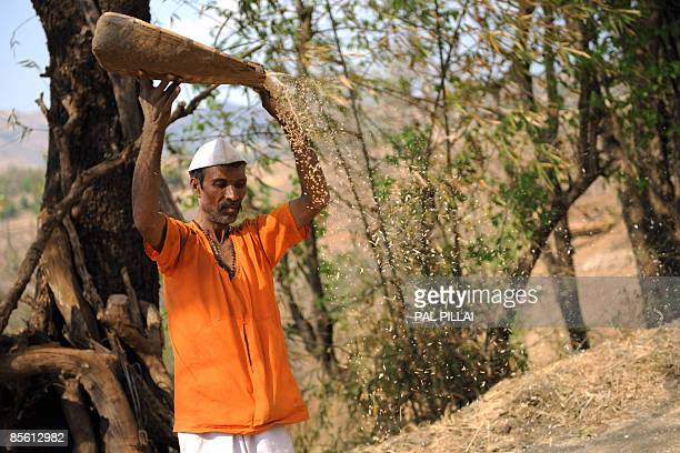 An Indian farmer works on his farm in the village of Purushwadi some 140 miles east of Mumbai on March 14, 2009. Inflation in India has dropped to...
