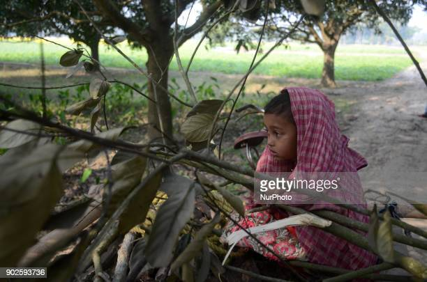 An Indian girl child suffering cold in a vegetable field of North 24 Pargana district 20 km from Kolkata India on Monday 8th January 2018