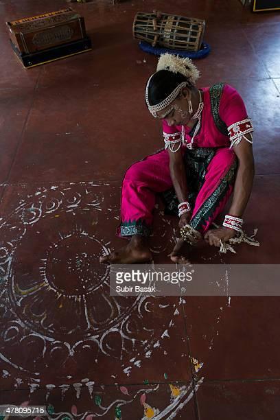An Indian Gotipua dancer  wearing ankle bells