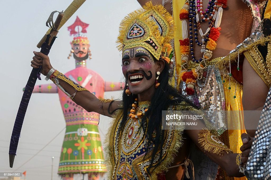 An Indian Hindu dressed as the Hindu demon king Ravana ...