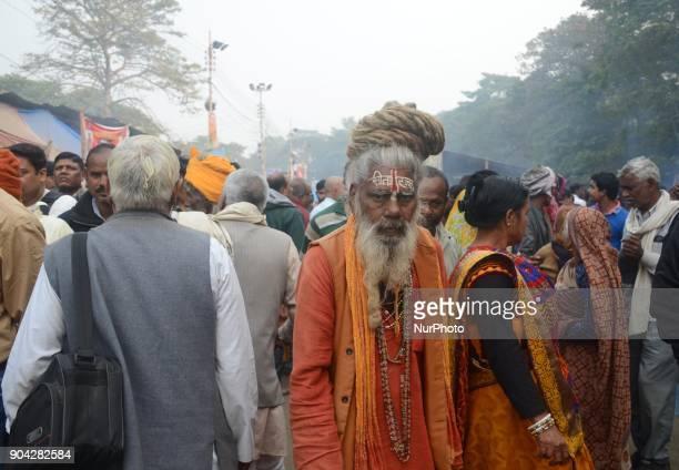 An Indian Hindu holy man at transit camp in Kolkata India on Friday 12th January 2018 Indian Hindu holy man starts to gather at transit camp on the...