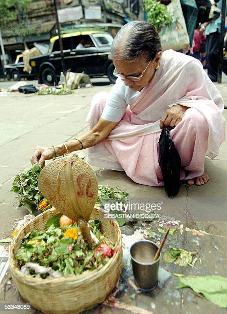 An Indian Hindu woman performs rituals and offers milk to a metal snake kept in a basket for devotees to mark Nag Panchami outside a temple in...