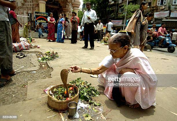 An Indian Hindu woman performs rituals and offers milk to a metal snake to mark Nag Panchami outside a temple in Mumbai10 August 2005 NagPanchami is...