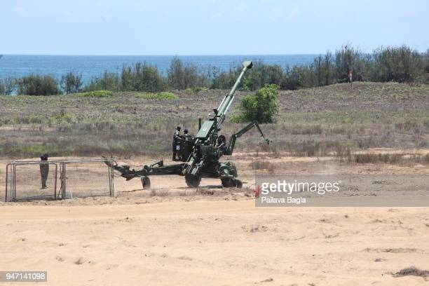 An Indian made 155 mm artillery gun in action it can shoot and scoot on its own power Indian armed forces air force army and navy gave a joint live...