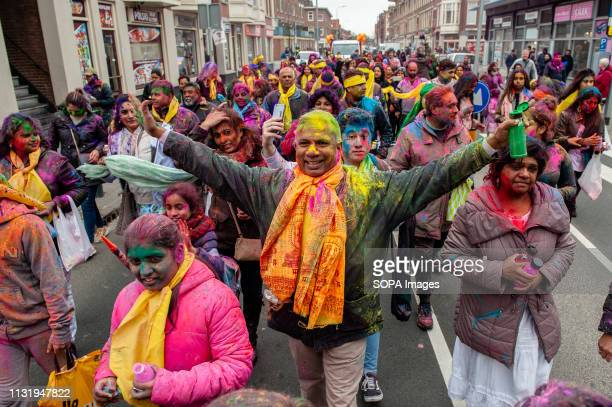 An Indian man is seen dancing during the celebration Millions of people around the world celebrate the annual Holi Hangámá Festival also known as the...