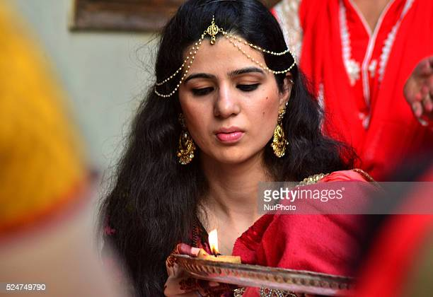 An Indian married Hindu woman performs rituals during the Karwa Chauth festival in Allahabad on October 30 2015 Karwa Chauth is a traditional Hindu...