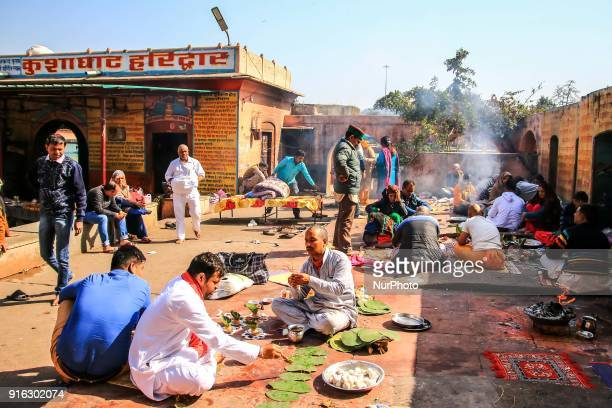 An Indian men perform worship according to Hindu culture for their died relative soul salvation in Haridwar Uttrakhand India on 8th Feb 2018 Haridwar...