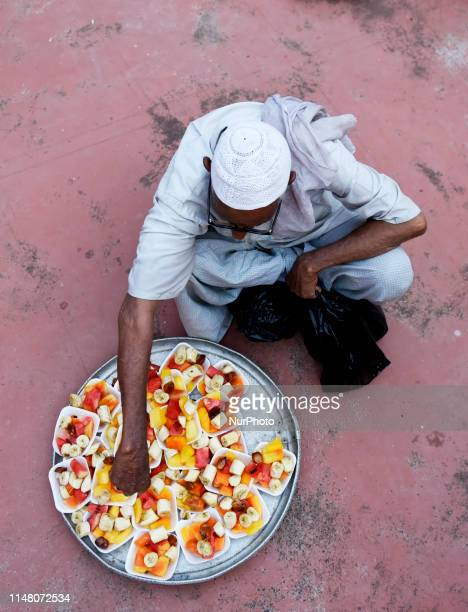 An Indian Muslim devotee seen preparing the Iftar meals to be distributed for breaking the fast at Nakhoda Masjid in Kolkata India on 04 June 2019...