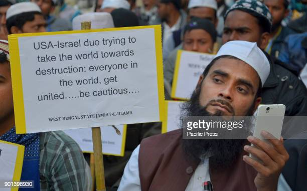 An Indian Muslim take part a protest meeting against Trump's aggression on Palestine in Kolkata West Bengal State Jamait Ulama EHind activists and...