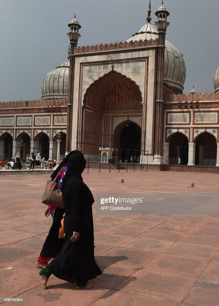 An Indian Muslim woman visits the Jama Masjid mosque in New Delhi on August 22, 2017. India's top court on August 22 banned a controversial Islamic practice that allows men to divorce their wives instantly, ending a long tradition that many Muslim women had fiercely opposed. PHOTO / Prakash SINGH