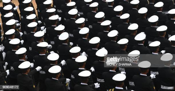 TOPSHOT An Indian Naval contingent marches during the full dress rehearsal for the upcoming Indian Republic Day parade in New Delhi on January 23...