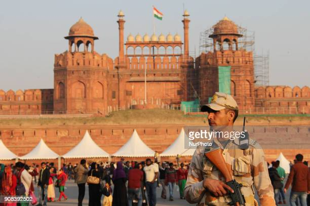 An Indian paramilitary security official stands guard at the Red Fort in New Delhi on 21 January 2018 ahead of the forthcoming India's Republic Day...