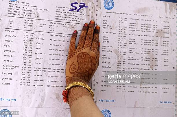 An Indian passenger checks the reservation chart posted on a train carriage at Secunderabad Railway Station in Hyderabad on February 25 as Indian...