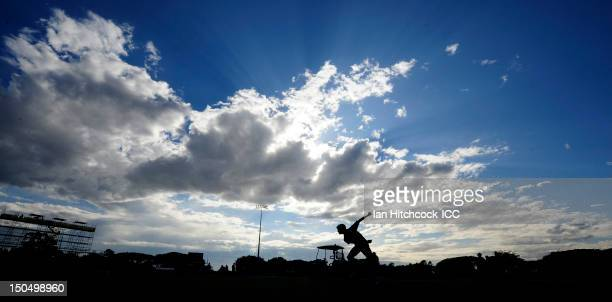 An Indian player warms up before the start of the ICC U19 Cricket World Cup 2012 Quarter Final match between India and Pakistan at Tony Ireland...