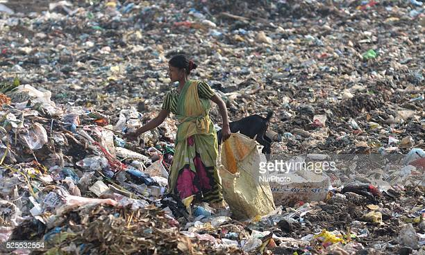 An Indian ragpicker looks for recyclable material at a municipal waste dumping site on World Environment Day in Dimapur India north eastern state of...