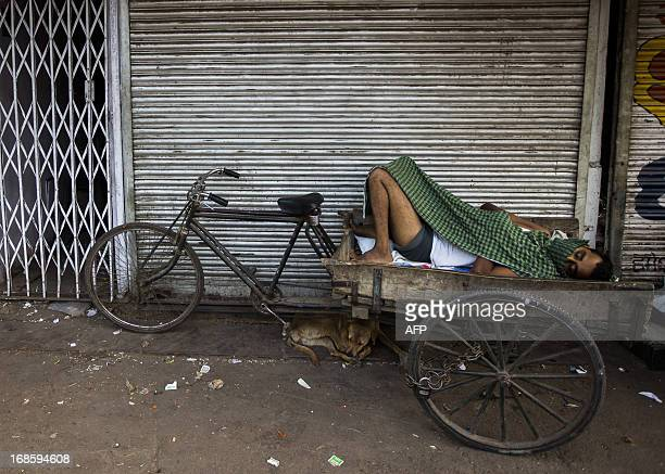 An Indian rickshaw driver and a street dog sleep in the Old Quarters in New Delhi on May 12 2013 The Indian government forecasts the economy will...