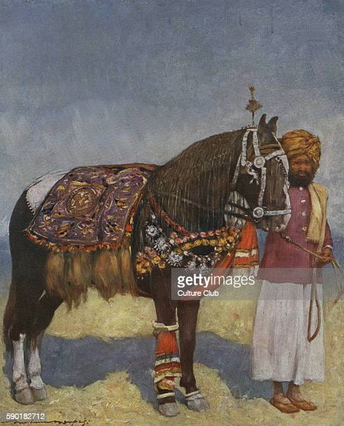 An Indian servant stands next to a heavily decorated horse adorned with scarves and beads caption reads ' A Horse from Jodhpur An animal whose antics...