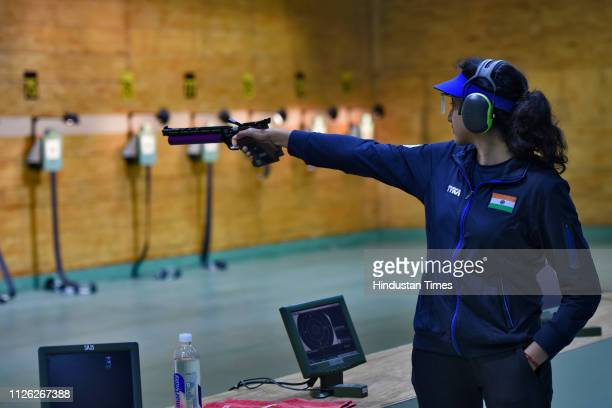 An Indian shooter is seen during a practice session of ISSF Rifle and Pistol World Cup at Dr Karni Singh Shooting Range on February 20 2019 in New...