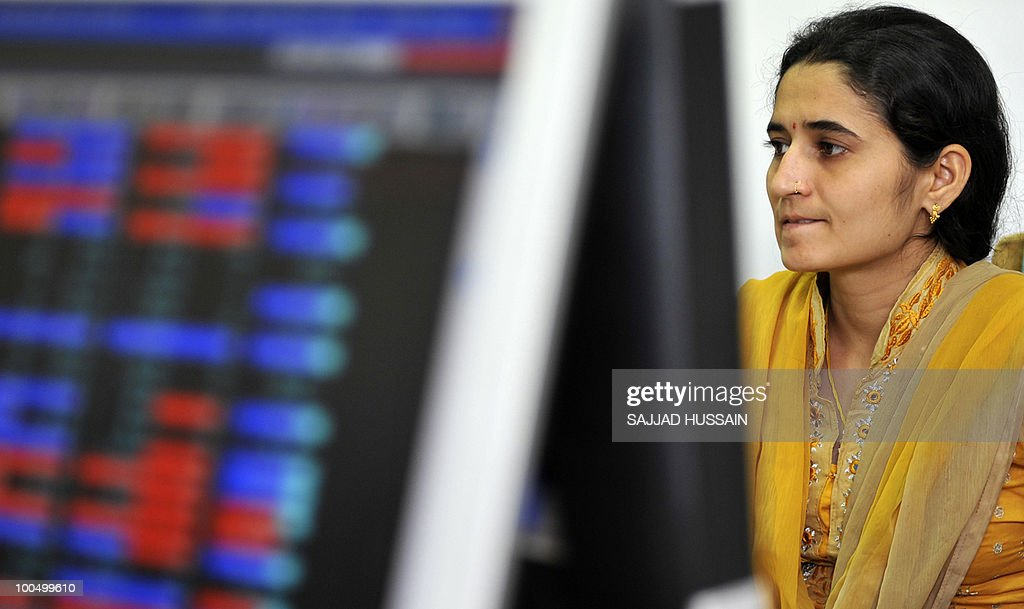 An Indian stockbroker reacts at a brokerage firm in Mumbai on May 25, 2010. Indian shares fell over three percent intraday, to a three-month-low of below 16,000 points level, as foreign funds sold riskier equities amid a deepening to Europe's debt woes.The benchmark 30-share Sensex index was down 509.4 points to a day's low of 15,960.15, half an hour prior to its close AFP PHOTO / Sajjad HUSSAIN