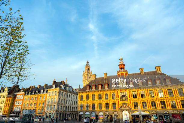 An Indian summer sunset on Place du Général-de-Gaulle (or Grand-Place) - 'Vieille Bourse' (Old Trade Palace) on the right, the most prestigiouse building of the city of Lille, North of France