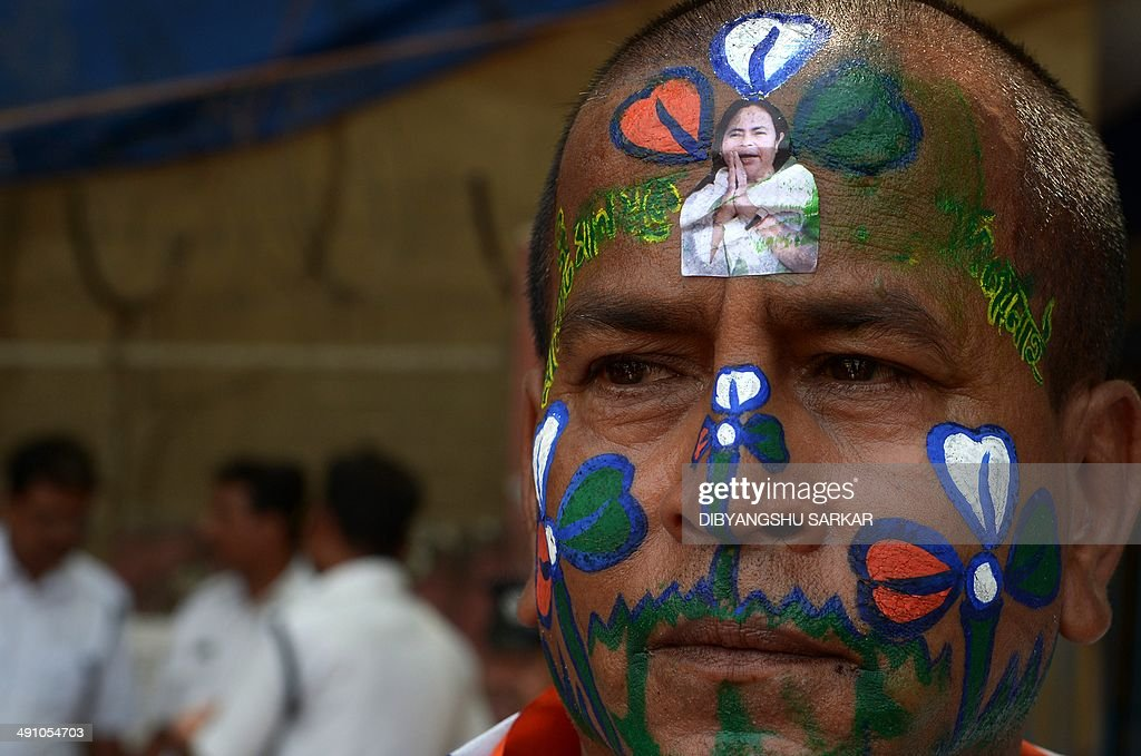 An Indian Supporter Of The Trinamool Congress Tmc With His Face