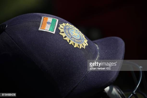 An Indian team batting helmet waits to be used during The Womens World Cup 2017 SemiFinal between Australia and India at The County Ground on July 20...