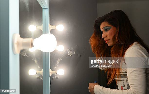 An Indian transgender model gets ready for an audition in New Delhi on February 7 2016 A nonprofit group conducted the first of its kind modelling...