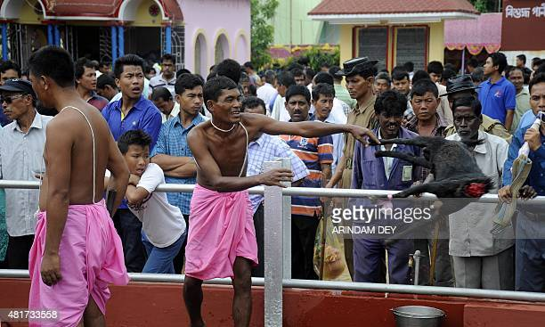 An Indian tribal Hindu priest throws a goat after sacrificing as a part of a ritual during the Kharchi Puja festival in Agartala on July 24 2015...