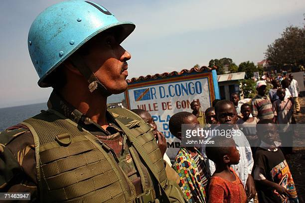 An Indian UN peacekeeper stops while on patrol July 17 2006 in Goma in eastern Democratic Republic of Congo Some 17000 UN troops are in Congo to...