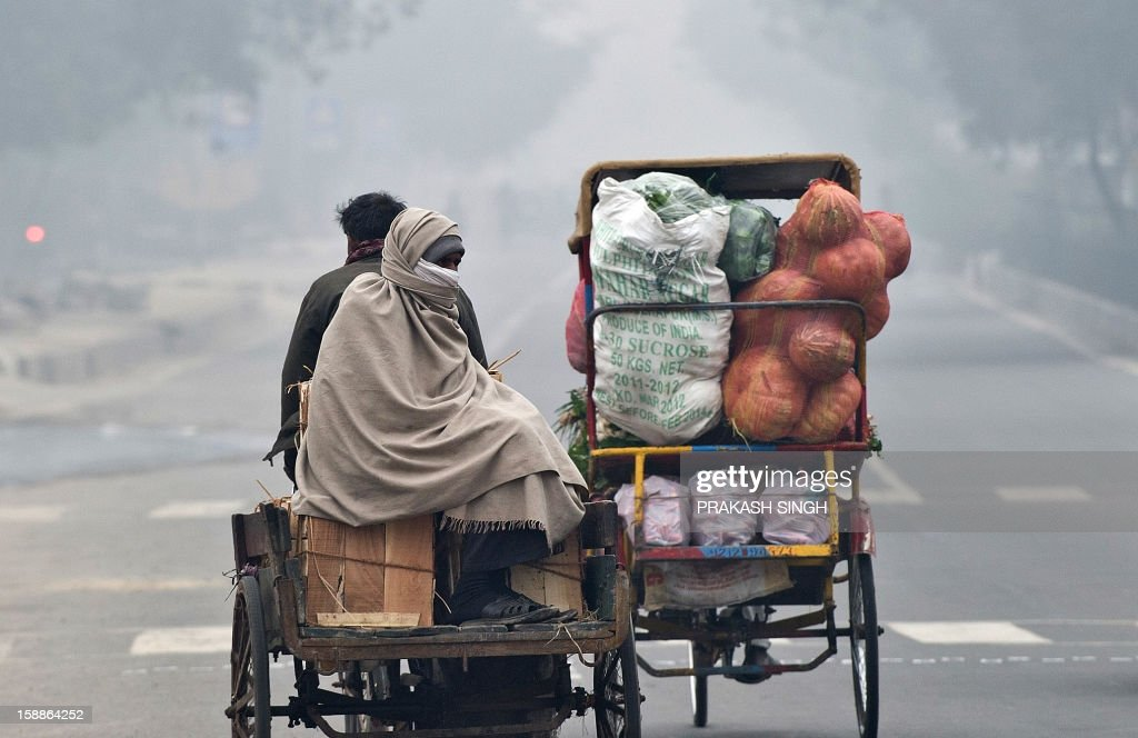 An Indian vegetable and fruit vendor rides a tricycle rickshaw with his supplies on a cold and foggy morning in New Delhi on January 2, 2013
