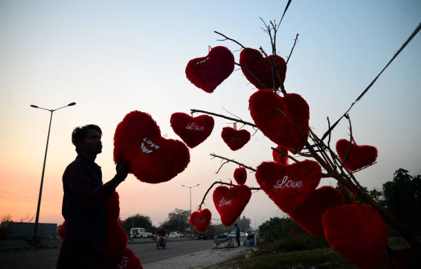 An Indian vendor adjusts heartshaped pillows hanging from a tree at a roadside stall ahead of Valentine`s Day in Jalandhar on February 9 2018 / AFP...