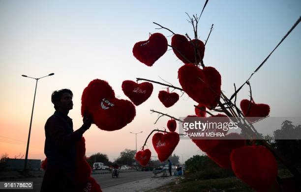 An Indian vendor adjusts heartshaped pillows hanging from a tree at a roadside stall ahead of Valentine's Day in Jalandhar on February 9 2018 / AFP...