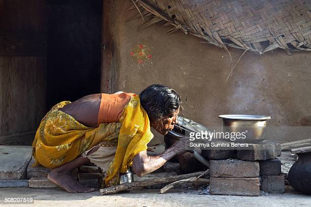 An Indian Village woman, blowing at the furnace to cook the food.